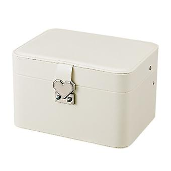 Jewelry box with heart-shaped button - White