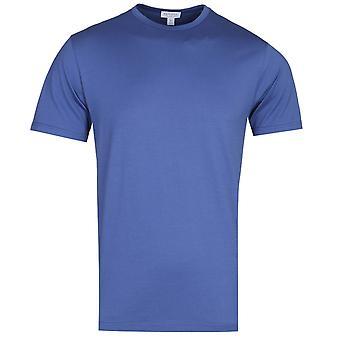 Sunspel Short Sleeve Crew Neck Deep Blue T-Shirt