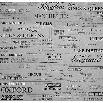 English Cities Wallpaper Textured Vinyl Typography Words Paste The Wall Grey