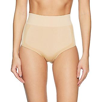 Arabella Women's Shine and Matte Seamless High Waist Shapewear Brief, Sand, L...