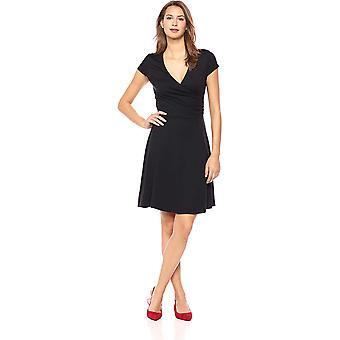 Lark & Ro Women's Cap Sleeve Faux Wrap Fit and Flare Dress, Black, Medium