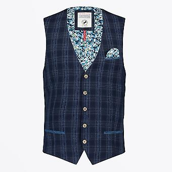 A Fish Named Fred  - Seersucker Checked Waistcoat - Navy
