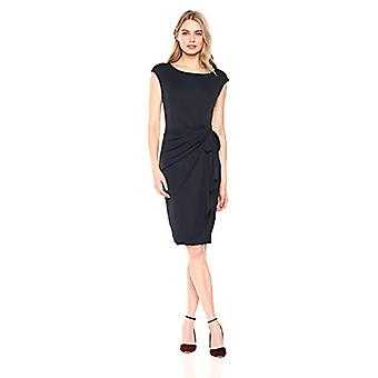 Brand - Lærke & Ro Kvinder & s Cap Sleeve Bateau Neck Wrap Dress, Navy 6