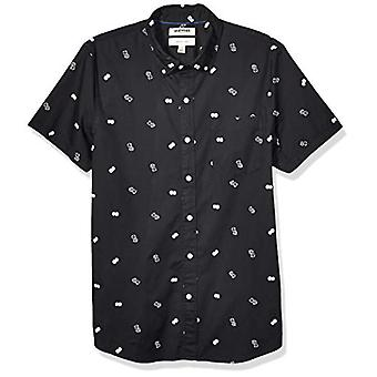 Brand - Goodthreads Men's Slim-Fit Short-Sleeve Printed Poplin Shirt, ...