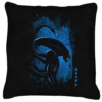 Alien Side Profile Blue Cushion