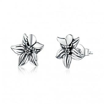 Silver Earrings Retro Flower - 6681