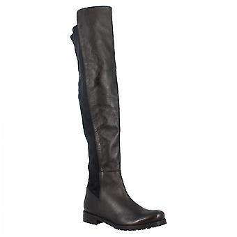 Leonardo Shoes Women's handmade thigh high boots in black calf and suede leather with side zip closure