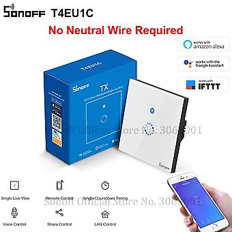 Wifi Wall Touch Switch 1 Gang Eu No Neutral Wire Required Switches Smart Single Wire Wall Switch Works With Alexa (t4eu1c)