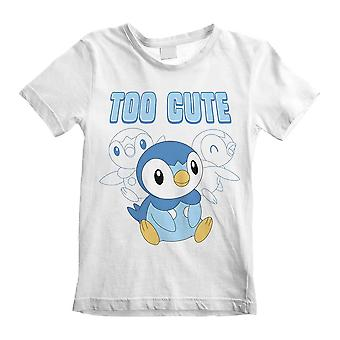 Children's Pokemon Piplup Too Cute White T-Shirt