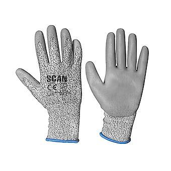 Scan Grey PU Coated Cut 3 Handschoenen - Groot (maat 9)