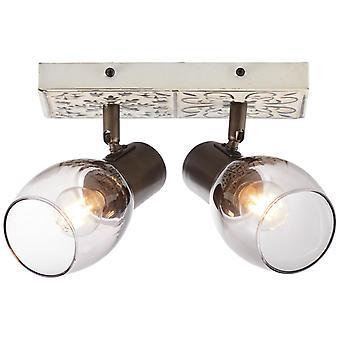 BRILLIANT Tolosa Spotbalken 2flg creme/rauchglas Innenleuchten,Strahler,-Balken   2x D45, E14, 6W, geeignet für Tropfenlampen