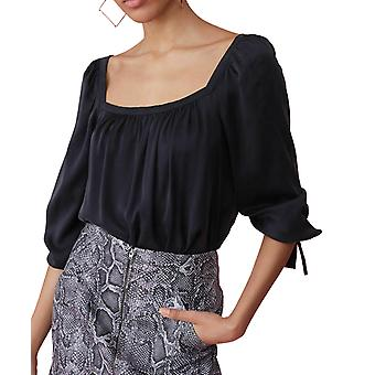 Rebecca Taylor | Square Neck Long Sleeve Silk Blouse