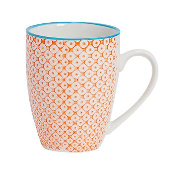 Nicola Spring Hand-Printed Tea and Coffee Mug - Japanese Style Porcelain Latte Mugs - Orange - 360ml