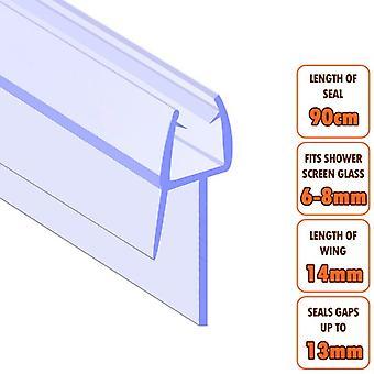 ECOSPA Bath Shower Screen Door Seal Strip - for 6-8mm Glass - Seals Gaps to 13mm