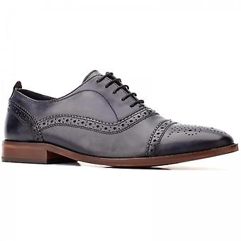 Base London Cast Washed Mens Leather Brogue Shoes Navy