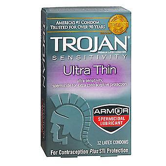 Trojan Citlivost Ultra tenké spermicid mazané latexové kondomy, 12 každý