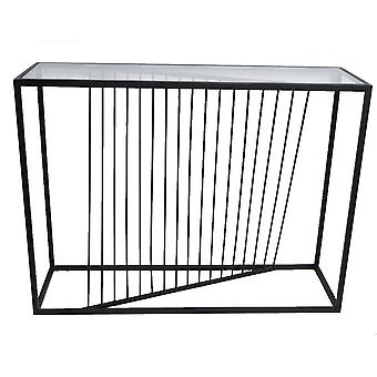 Stół czarny metal/szkło 76x100 cm