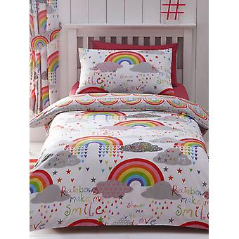 Clouds and Rainbows Double Duvet Cover and Pillowcase Set