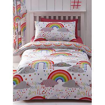 Nuboseras y arco iris doble funda de edredón y juego de fundas de almohada