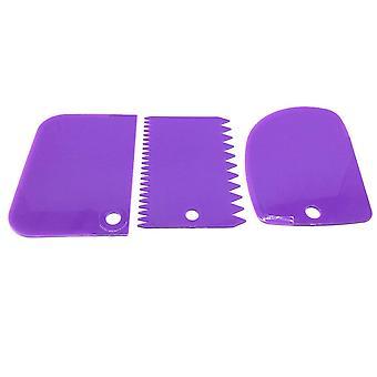 3pcs Plastic Scraper Diy Kitchen Straight Arc - Tooth Shape Cream, Bread, Cake