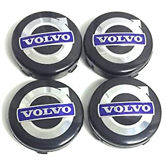 Black/Blue/Chrome Volvo Car Wheel Center Caps Hub Cover 65mm 4 PCS For C70, S60, V60, V70