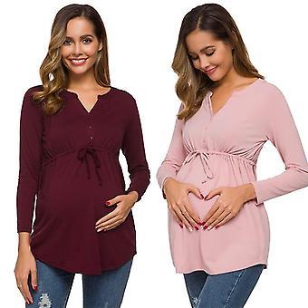 Ženy Materské T-shirt / dlhý rukáv jednofarebné ošetrovateľstvo Topy pre dojčenie