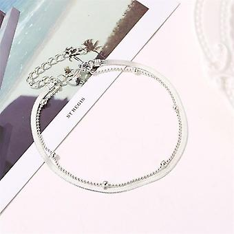 Women Double Foot Cavigliere Silver Color Chain, Ankle Bracelets, Feminina,