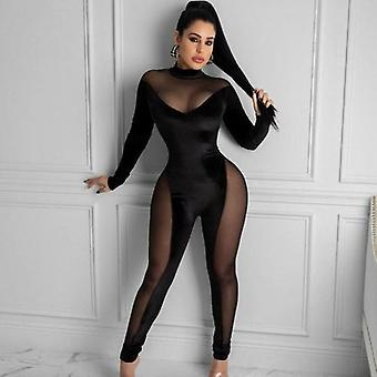 Mesh Patchwork See Through Long Sleeve Rompers One Piece