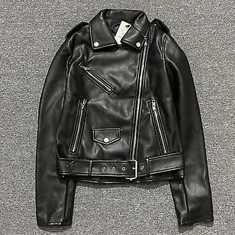 Jaro-podzim, Umělé kožené bundy, Zip Biker Kabát