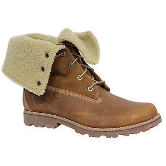 Timberland Roll Top Juniors Boots Boys Kids Brown Leather Fleece 50919 B28E