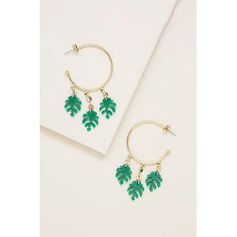 Mini Palm Leaf Hoops In Green And Gold