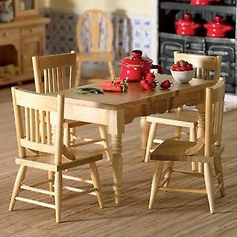 The dolls house emporium kitchen table & four chairs (lacquer finish) 1:12 scale