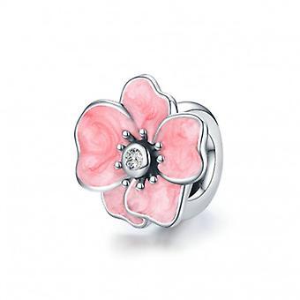 Zilveren Stopper Roze Bloem - 6916