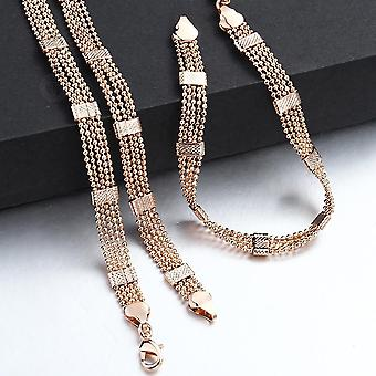 Set di gioielli donna uomo, bracciale in oro rosa, collana