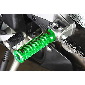 BikeTek Alloy Round Sport Footpegs Suzuki Rider / Pillion Green Type 1