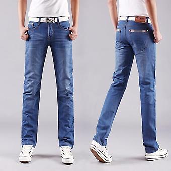 Classic Men Casual Mid-rise Straight Denim Jeans, Długie spodnie, Wygodne