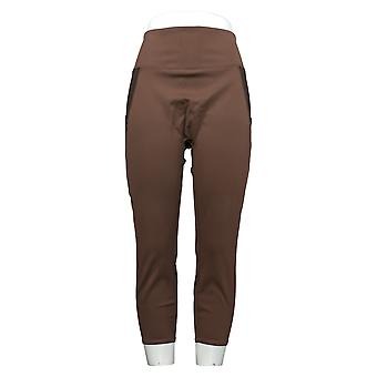 Zuda Petite Leggings Z Stretch Colorblocked Pull On Brown A382069