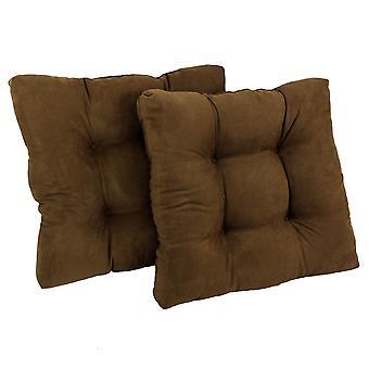 Coussin de chaise à manger tufted microsuede carré de 19 pouces (ensemble de deux) - chocolat