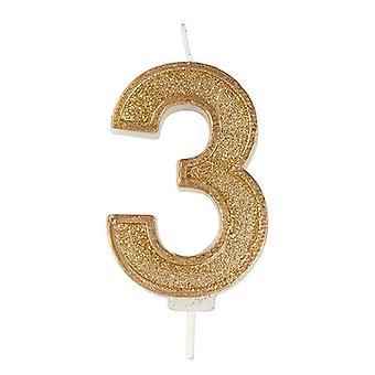 Vela numeral de brillo de oro - Número 3 - 70mm
