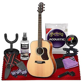 Walden d740e natura all-solid sitka  mahogany dreadnought acoustic-electric guitar  with gig bag, strap, strings, tuner and more perfect ps46343