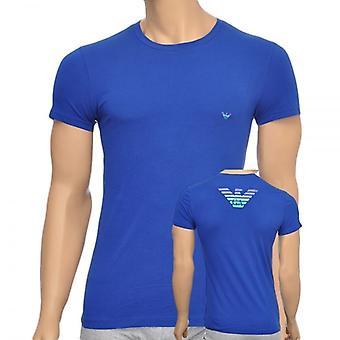 Emporio Armani águila elástico de algodón cuello redondo t-shirt, azul, pequeño