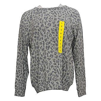 Buffalo Women's Printed Long Slv Crew Neck Pull-Over Sweater Gray 1436867