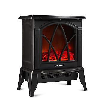 Freestanding Electric Stove Heater 1800W Fireplace with Log Burner Flame Effect
