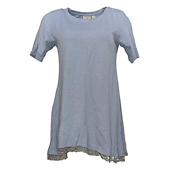 LOGOTIPO por Lori Goldstein Women's Top Cotton Slub Knit c/ Lace Blue A302794