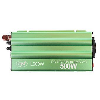 PNI L600W dubbel strömförsörjning växelriktare 12V / 24V, 230V utgång, 500W, modifierad sinus, 5V 500mAh USB-kontakt, med strömtänger och cigarettändarkontakt ingår
