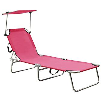 vidaXL folding couch with sun protection pink aluminium