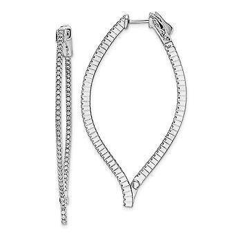 925 Sterling Silver CZ Cubic Zirconia Simulerad Diamant In och ut Örhängen Mäter 56.5x30.8mm Bred 1.5mm tjocka smycken