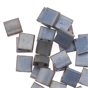 Miyuki Tila 2 отверстия Квадратные бусины Матовый Металлик Серебристо-серый 7,2 грамма