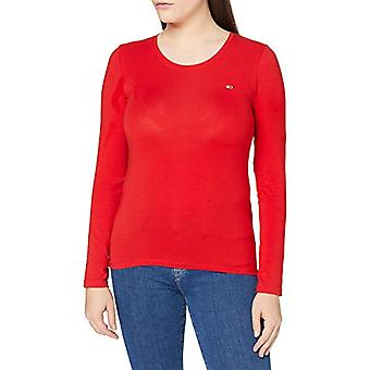 Tommy Jeans TJW Stretch Jersey Scoop Neck T-Shirt, Deep Crimson, M Woman