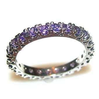 Ah! Jewellery Women's Full Eternity Violet Simulated Diamond Ring. Rhodium Electroplate, 2.5mm Total Width, Brilliant Quality.